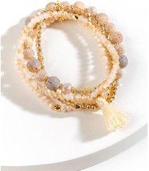karlie beaded stretch bracelet set - pale pink
