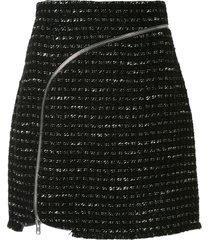 alexander wang curved zipper tweed skirt - black