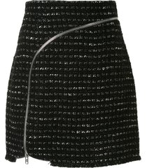 alexander wang curved zipper tweed skirt - black