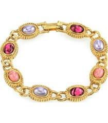 2028 gold tone oval lt. dk. amethyst color link bracelet