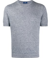 barba crew neck fine knit t-shirt - blue