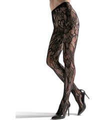 natori women's lace cut-out net tights hosiery