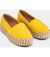 alpargata lona flatform amarelo gamuza - lez a lez