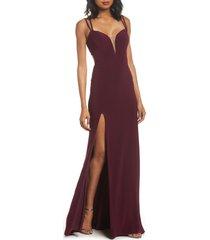 women's la femme open back jersey gown, size 10 - burgundy