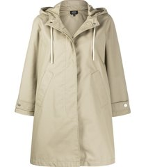 a.p.c. oversized hooded coat - neutrals