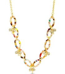 catherine malandrino rhinestone oval hoop necklace in lucite and yellow gold-tone alloy