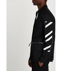 river island mens black field jacket with sleeve print