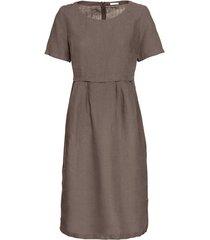 linnen jurk in empirelijn, taupe 44