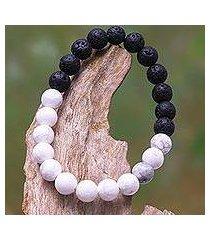ceramic and lava stone beaded stretch bracelet, 'mesmerizing contrast' (indonesia)