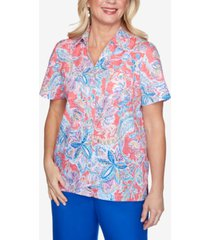 alfred dunner floral burnout short sleeve woven shirt