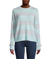 360 cashmere women's mindie striped cashmere sweater - seafoam dove - size xs