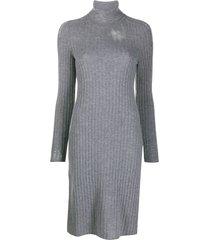 maison margiela distressed rib-knit dress - grey