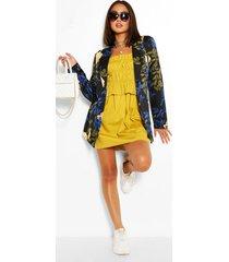 cotton ruched bandeau shift dress, mustard