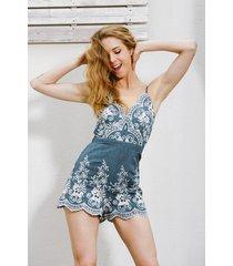 women v neck zipper romper short overalls embroidery denim summer strap jumpsuit