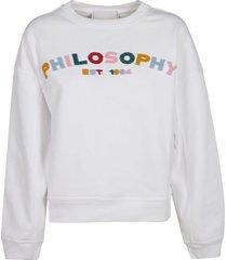 philosophy di lorenzo serafini fur logo patched sweatshirt