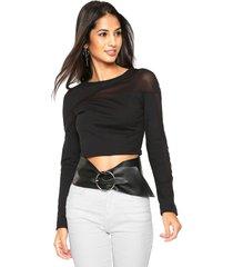 blusa lez a lez ajustada preta - preto - feminino - viscose - dafiti