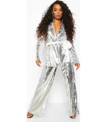 petite sequin long line belted blazer, silver