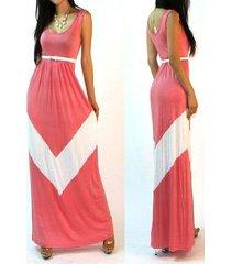 vestido largo de mujer sexy vestido largo de playa roja -pink