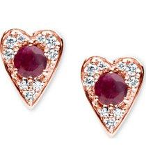 certified ruby (3/8 ct. t.w.) & diamond (1/6 ct. t.w.) heart stud earrings in 14k rose gold