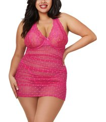 dreamgirl women's plus size ruched stretch mesh hearts chemise and g-string