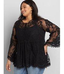 lane bryant women's embroidered mesh babydoll top 34/36 black
