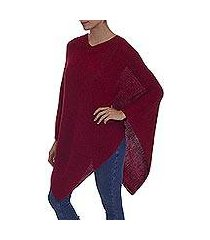 100% alpaca poncho, 'enchanted evening in claret' (peru)