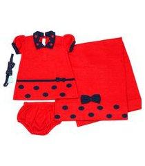 kit saída maternidade vestido de bola - verive - vermelho