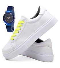 tênis sapatênis casual fashion com relógio sky feminino dubuy 310el branco