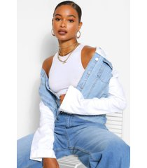 contrast slim fit jean jacket, white