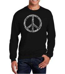 la pop art big & tall men's word art the word peace in 77 languages crewneck sweatshirt