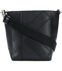 kenzo stitched logo bucket bag - black