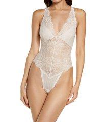 women's monique lhuillier x hanky panky tresor halter lace teddy, size small - pink