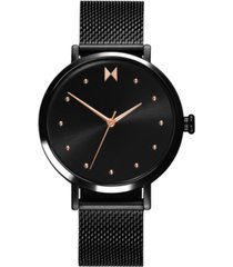 mvmt women's dot spin black stainless steel mesh bracelet watch 36mm