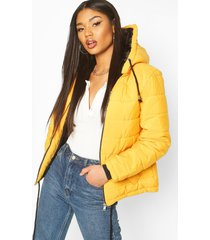 hooded padded jacket, mustard