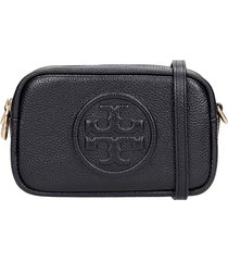 tory burch perry bombe clutch in black leather