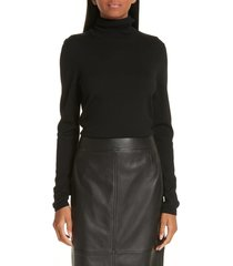 women's boss famaurie wool turtleneck sweater, size x-small - black