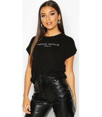 amour fatale french slogan t-shirt, black