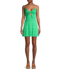 alice + olivia by stacey bendet women's roe tie-front flare dress - jade - size 8