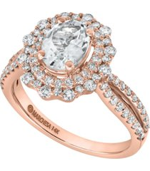 gemstone bridal by marchesa aquamarine (1 ct. t.w.) & diamond (7/8 ct. t.w.) engagement ring in 14k rose gold & 14k yellow gold