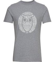 alder wave owl tee - gots/vegan t-shirts short-sleeved grå knowledge cotton apparel