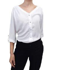blusa chalis manga 3/4 blanco plica