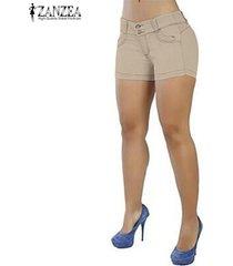 zanzea pantalones cortos de verano para mujer pantalones cortos de club de fiesta legging para mujer -beige