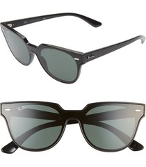 women's ray-ban 51mm square sunglasses - black/ green solid