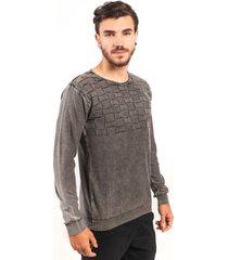 blusa algodão fino tricoport relevo grafite