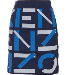 kenzo kenzo knitted logo skirt