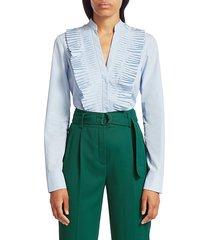 akris punto plissé tunic blouse - sky blue - size 4