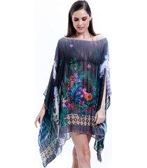 kaftan 101 resort wear plus size estampado floral preto