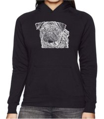 la pop art women's word art hooded sweatshirt - pug face