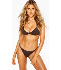 high leg triangle bikini, khaki