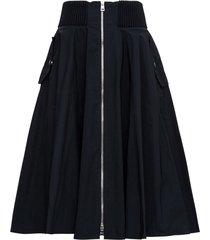 red valentino long black taffeta skirt